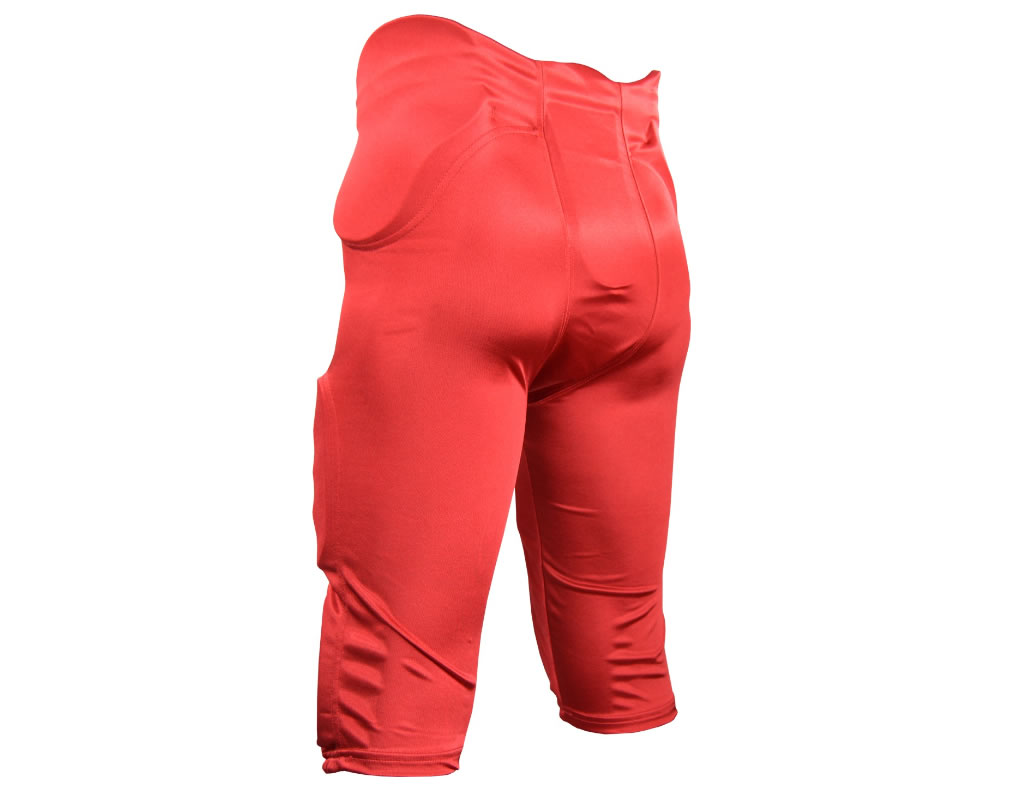 Red football pants with pads, Back