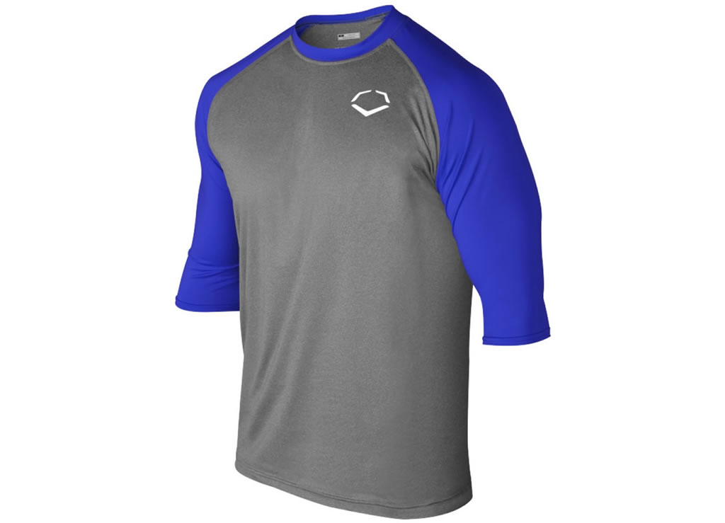 Blue 3-4 Sleeve Performance Shirt for Men by Evoshield