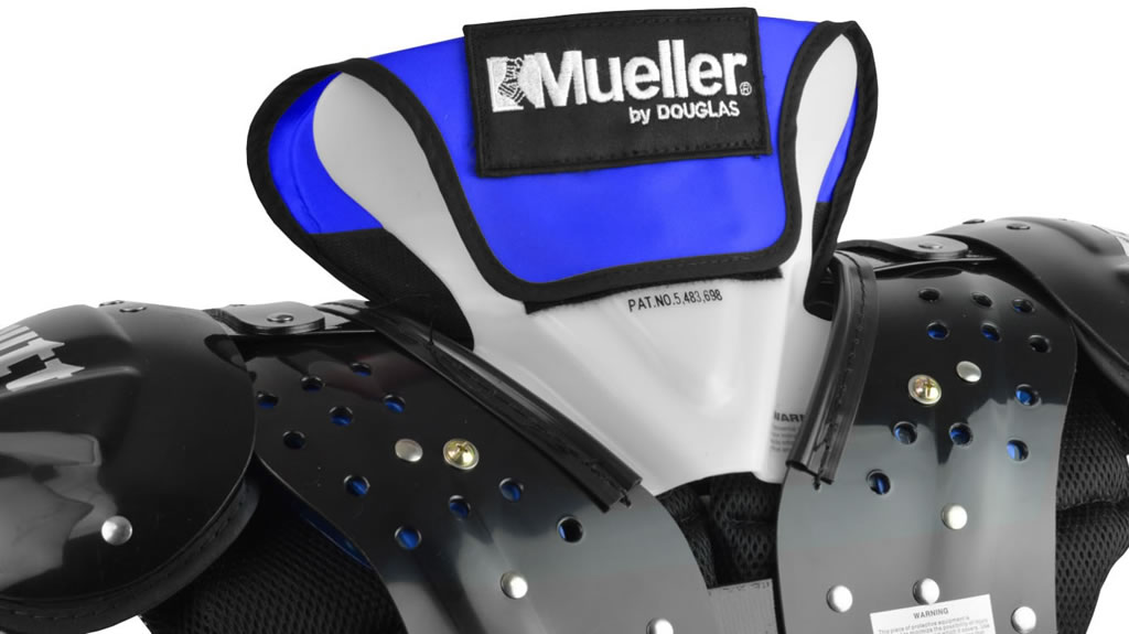Blue football neck collar by Mueller