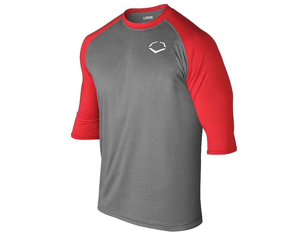 Red 3-4 Sleeve Performance Shirt for Men by Evoshield