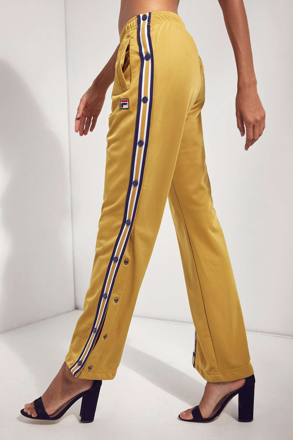 FILA + UO Basketball Gold Tearaway Track Pant,Side