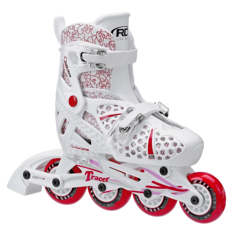 Red Adjustable Inline Skates For Girls by Roller Derby