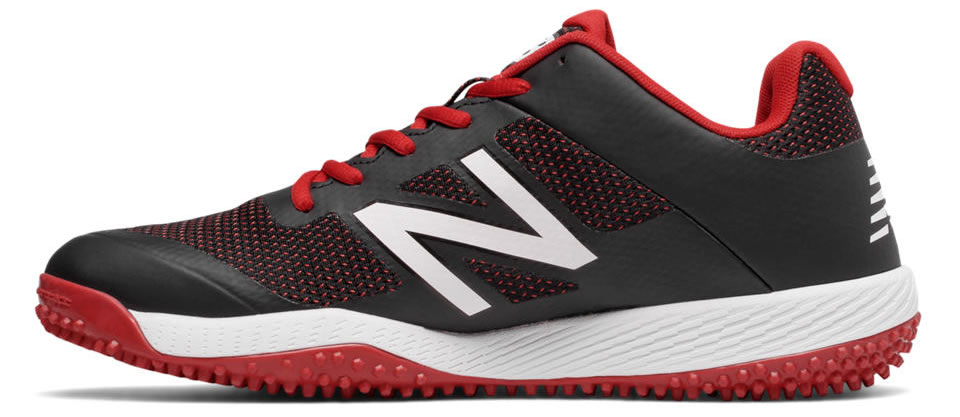 Red Turf 4040v4 baseball shoes by New Balance, Side