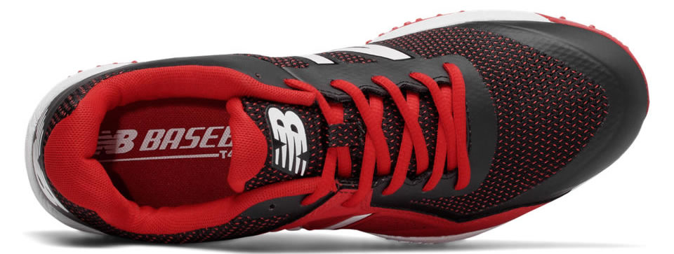 Red Turf 4040v4 baseball shoes by New Balance, Upper