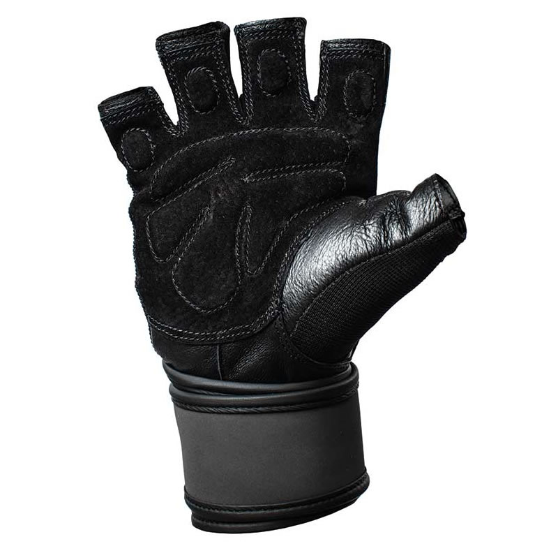 Weightlifting gloves with wrist support, Leather Palm