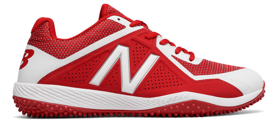 White Turf 4040v4 baseball shoes by New Balance, Side