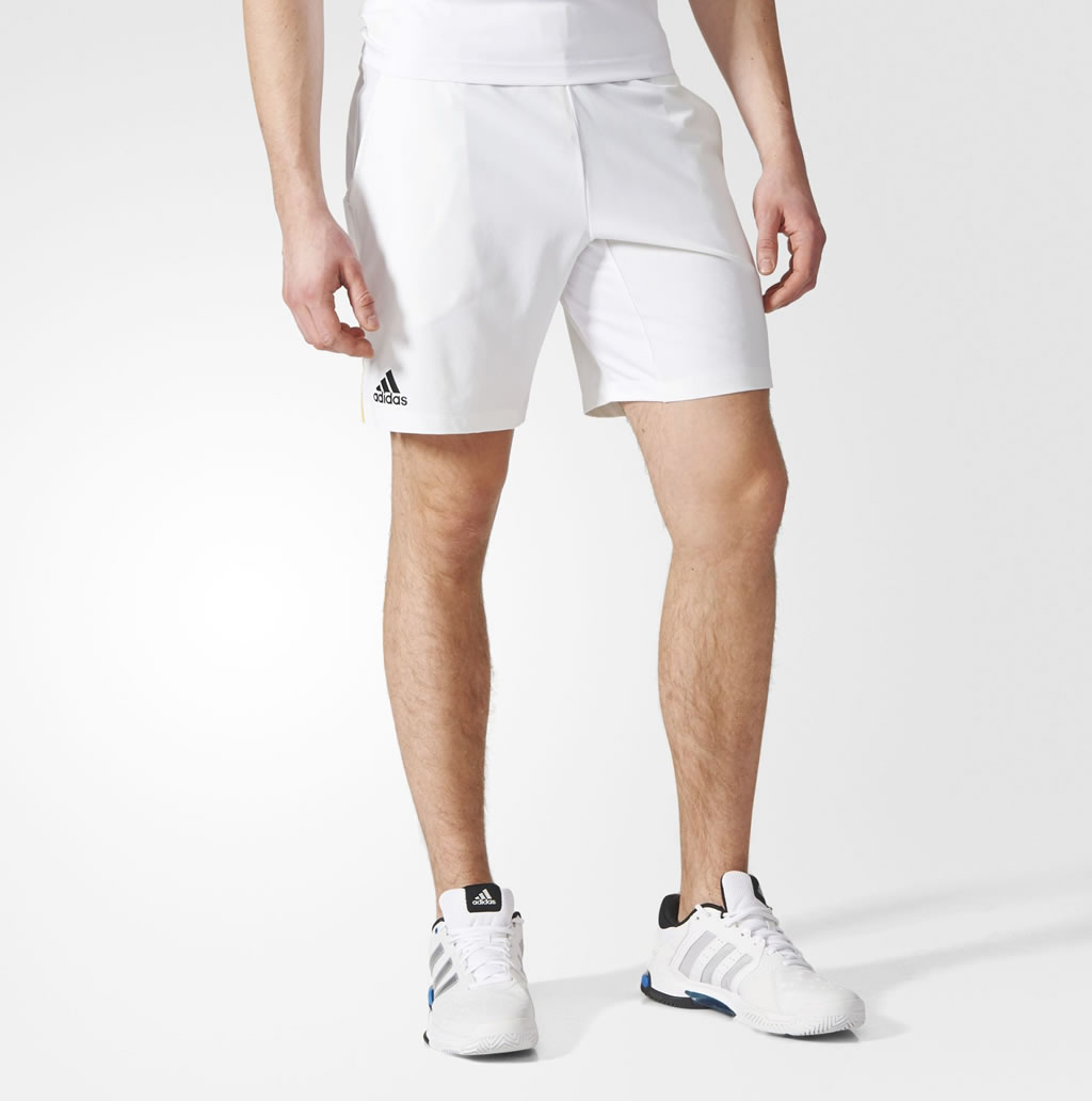 White tennis shorts for men by Adidas