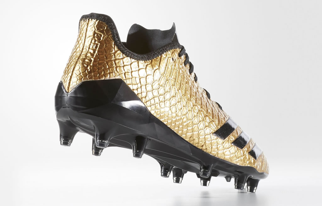Black and gold football cleats by Adidas, Heel