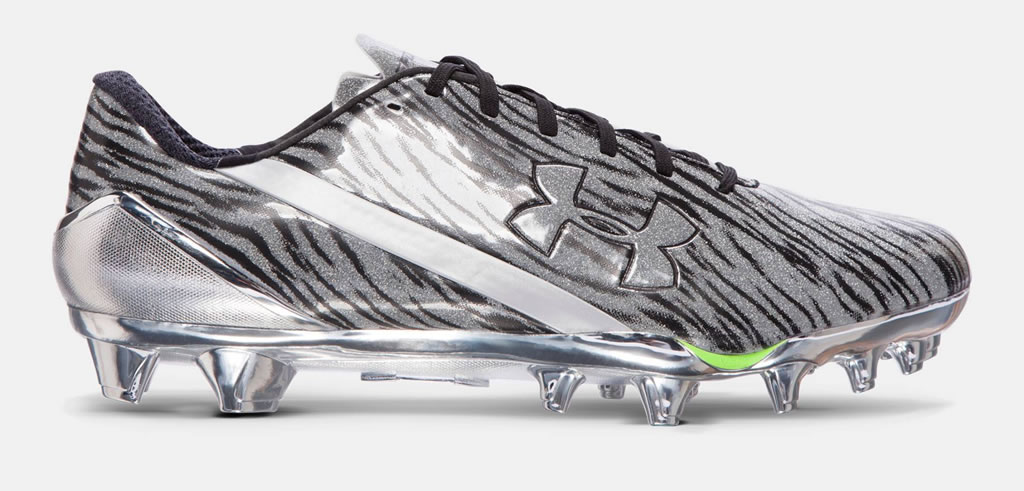 Silver Under Armour Spotlight Cleats