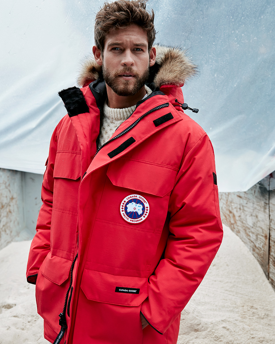 big red canada goose down parka