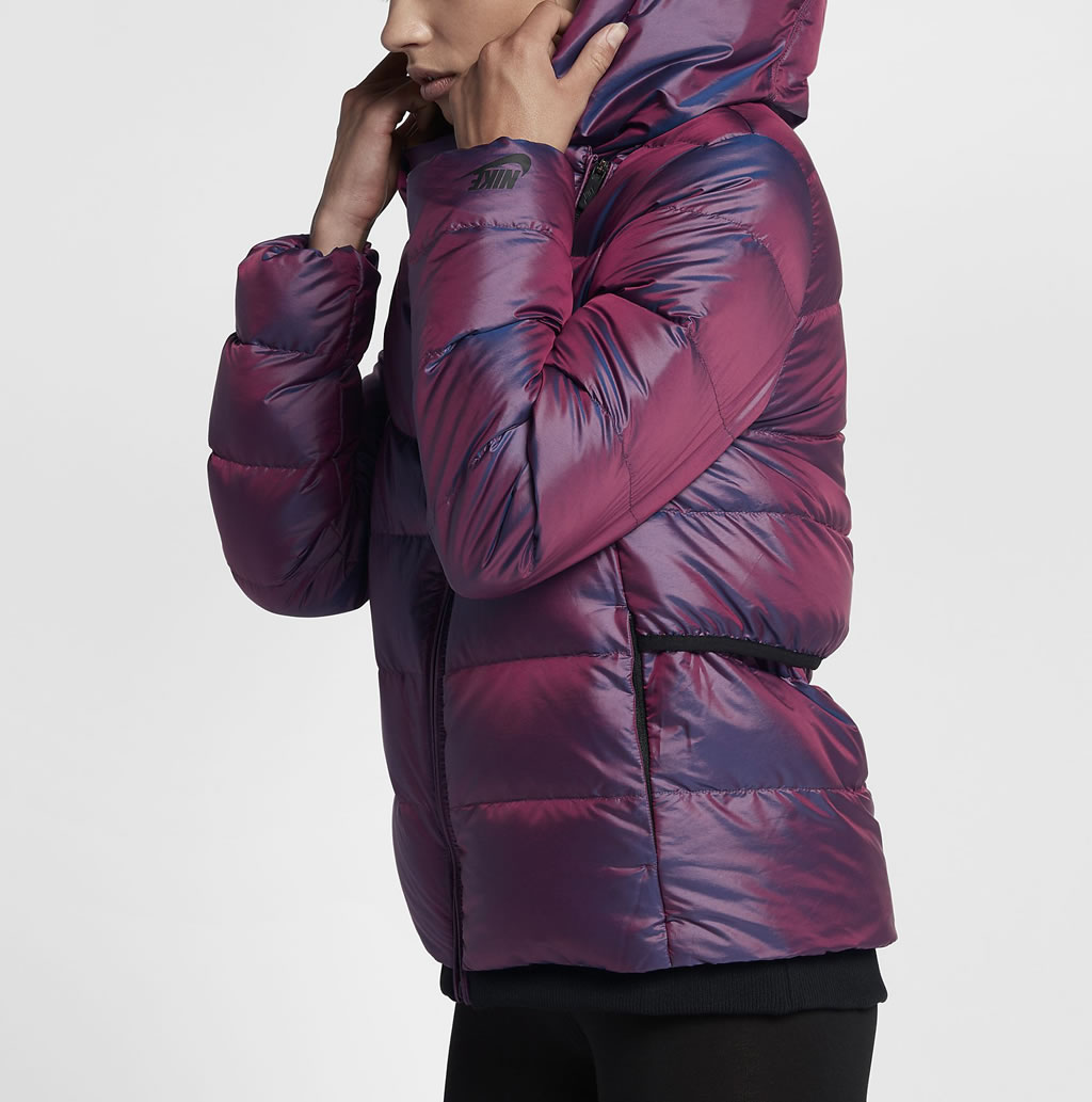Bordeaux Down Jacket For Women by Nike, Side