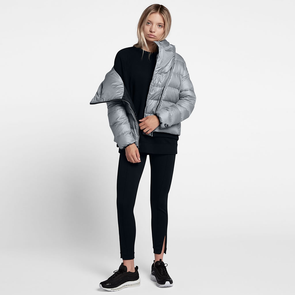 Grey Down Jacket For Women by Nike Sportswear