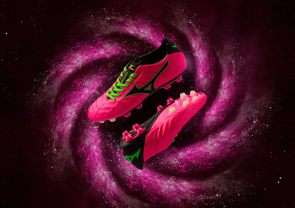 The Pink Rebula Soccer Cleat by Mizuno