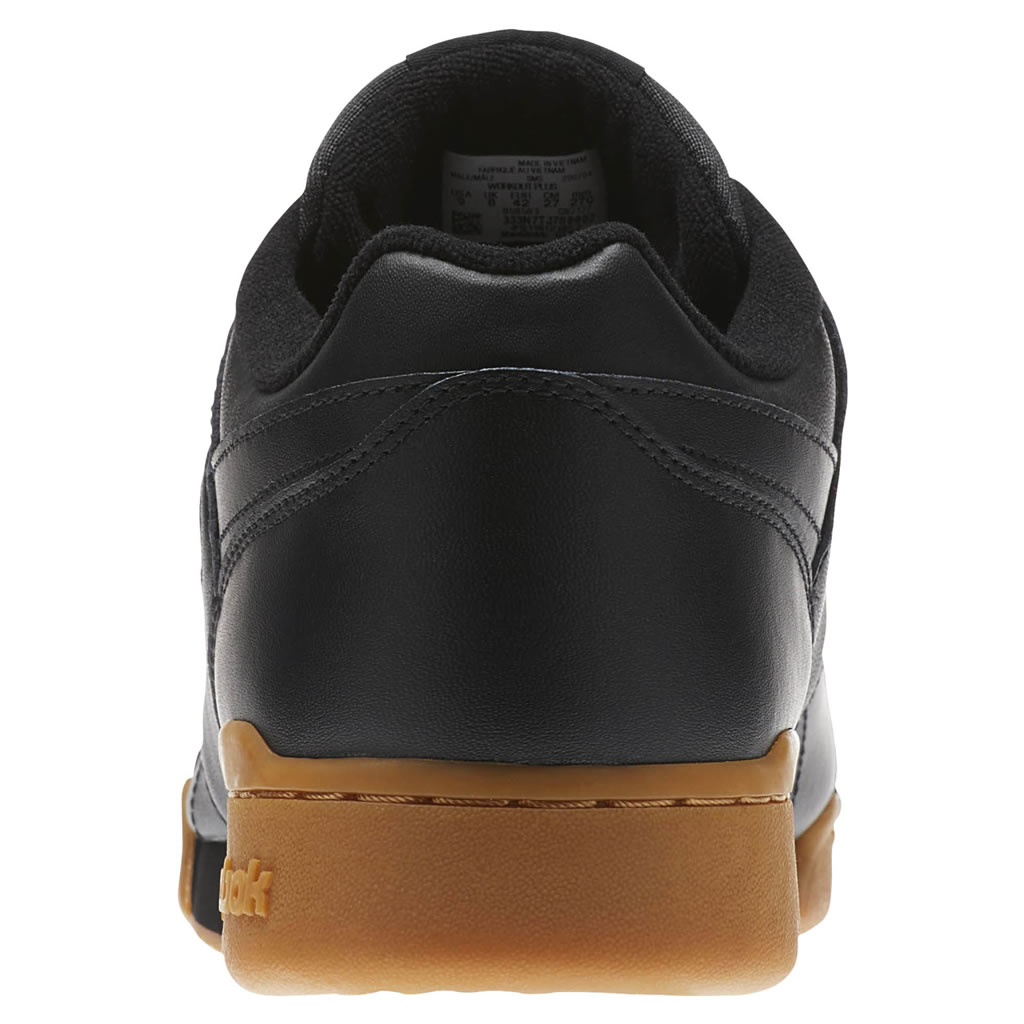 Black Workout Plus Sneakers by Reebok, Heel