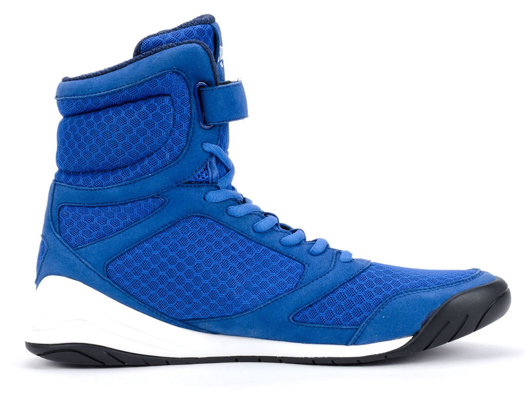 Blue Everlast Elite High Top Boxing Shoes, Side