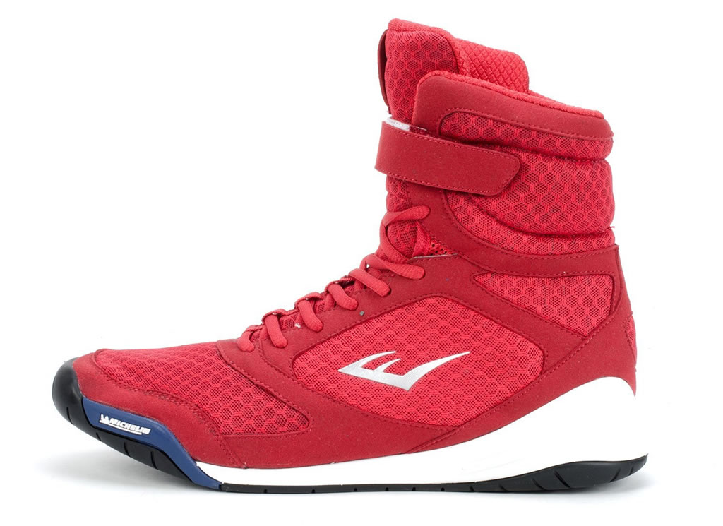 Red Everlast Elite High Top Boxing Shoe, Side