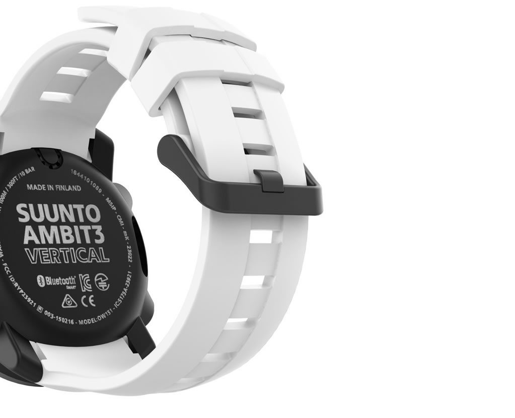 White Ambit 3 Vertical Watch by Suunto, Strap